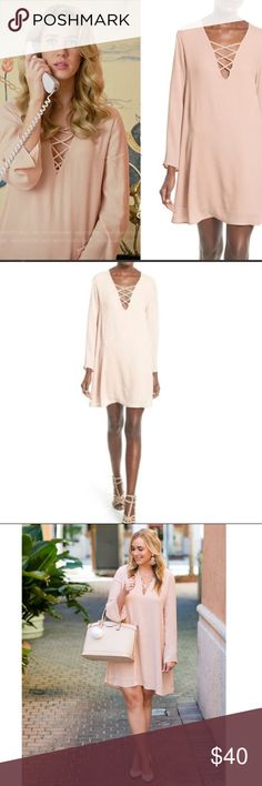967cc8e228c ASTR Lace up Bell sleeve shift dress ASTR light pink bell sleeve shift  dress as seen