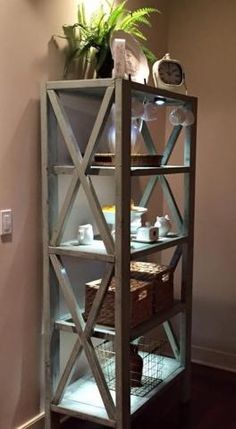DIY plans Rustic X Tall Bookshelf