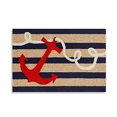 The Trans-Ocean Frontporch Anchor Door Mat is a whimsical rug that is designed by Liora Manne. The rug is hand-tufted and made up of 20% polyester and 80% acrylic, making it great for indoor or outdoor use.