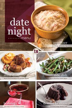 Date Night Menu | Valentine's Day Menu | Tastefully Simple | Your menu complete with an appetizer, side, main dish, drink and dessert to share!