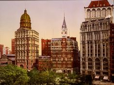 New York City In Old Color Photographs At The Turn Of The Century. Newspaper Row 1900 Detroit Publishing
