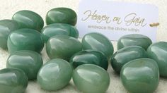 ~Green Aventurine~ (Imported from India) Boosts creativity, imagination, intellect and mental clarity. Enhances prosperity and brings career success. It's a gentle stone energetically that gives a sense of calm and balance, enhances happiness, promotes compassion, empathy and encourages perseverance. ($3.50 each)