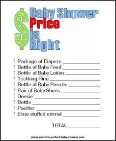 Price is Right Printable Shower Game and 13 more
