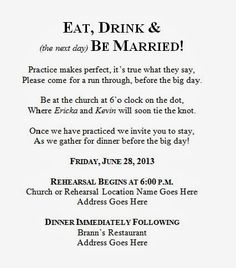 This Crazy Thing Called Life Wedding Wednesday Diy Rehearsal Dinner Invitation