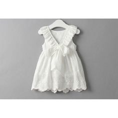 Dainty Dresses - Embroidered Back Big Bowknot Vest Dress