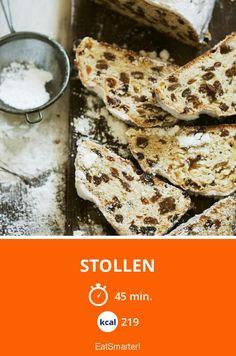Stollen - smarter - Kalorien: 219 kcal - Zeit: 45 Min. | eatsmarter.de German Bread, Bread Art, Muffins, Food And Drink, Baking, Cake, German Recipes, Desserts, Fudge