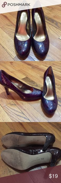 "Anne Klein Patten Leather Embossed Shoes Dark red patten leather shoes from Anne Klein. Worn a few times, but in good shape. A few scuffs on the heels. Man made materials. 3"" heel. Reasonable offers welcome. Non- smoking and pet free home. 30% off bundles! Anne Klein Shoes Heels"