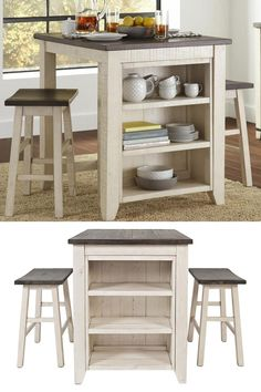 """The Counter Height 3 Piece Bar Set is a versatile and creative group for any room in your home that requires a multi-functional solution for eating. It can also double as a counter height desk or a bistro group in a game room. The set can store and display your collectibles as you cozy up to the generous 36"""" x 30"""" wood countertop surface on the comfortable scoop stools. Fixed shelves: 20.5""""W x 9.5""""D Stool Dimensions: 19""""W x 13""""D x 24""""H Available at Great American Home Store Online or In-store."""