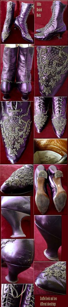1880's Beaded Steel Plum Iridescent. I love purple & boots! I would've SO worn these beautiful boots.                                                                                                                                                                                 More