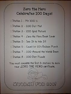Zero the Hero Celebrates 100 Days...Love the stations...fun for kindergarten!!!