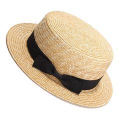 c4607e1ee3f Women Straw Hat Summer Beach Sun Hats Flat Top Bow  ROSELUOSI  StrawHat   Daily