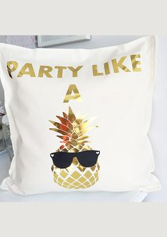 Houseplants That Filter the Air We Breathe This Pillow Is The Definition Of Fun Gold Metallic Pineapple With Black Sunglasses Is Heat Transfer Material On 100 Cotton Pillow Cover Cotton Pillow, Trends, Birthday Party Themes, Decoration, Pillow Covers, Cool Stuff, Gifts, Black Sunglasses, Heat Transfer