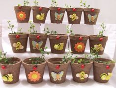 18 Miniature garden themed favour pots - party favours - garden party - ladybug, butterfly, flower, snail, bumblebee favours on Etsy, $25.29 AUD