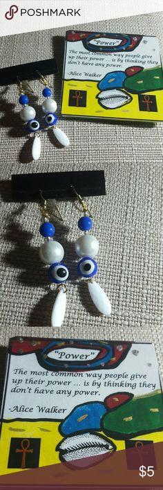 Evil eye dangle earrings Evil eye dangle deaded earrings   Gold tone surgical steel fish hooks ear wires.   Comes with free inspirational refrigerator/ office desk magnet. Jewelry Earrings