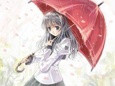 manga girl in the rain