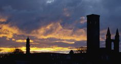 A fiery sunset over St Andrews Cathedral on 15 May 13. (1 of 2)