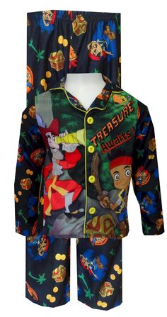 Jake And The Neverland Pirates Button Front Toddler Pajamas Ahoy, matey... where is Hook? Now your little guy can follow the tr...