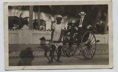 1912 Colombo Ceylon native pulling handcart  Candid Real Photo Postcard RPPC