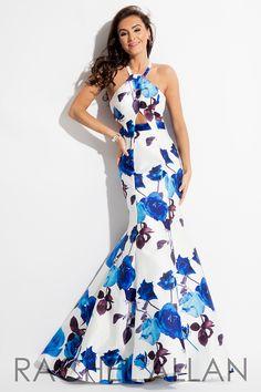 7622 - Floral printed mikado mermaid dress with cutouts