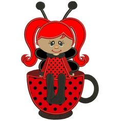 Cute Girl Ladybug sitting on a cup Applique Machine Embroidery Digitized Design Pattern #embroidery  #machine embroidery  #applique  #digitized #needlework  #sew  #patterns #girl #cup