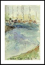 Plein Air Sketchbook. Ventura Harbor. June 29. 2012. Down At The Docks. Framed Print by Cathy Peterson