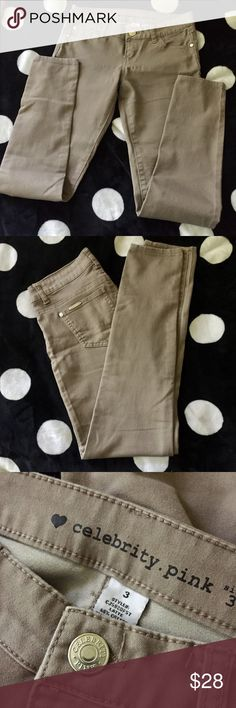 Tan Celebrity Pink skinny jeans Tan or khaki colored skinny jeans. Size 3. Excelling condition. Celebrity Pink. Celebrity Pink Pants Skinny