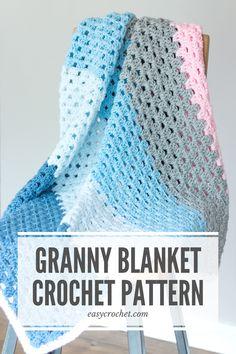 Crochet Baby Blanket Free Pattern, Easy Crochet Blanket, Baby Afghan Crochet, Crochet Square Patterns, Granny Square Crochet Pattern, Baby Knitting Patterns, Free Crochet, Crochet Granny, Crochet Blankets