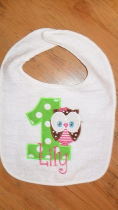 Boutique First Birthday Bib Owl Applique by doodlebugdesigns34, $13.00