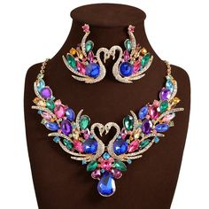 2017 New Africa Wedding jewelry Sets Full Austrian Crystal Swan Necklace Earrings For Women Bridal Jewelry Sets Swan Necklace, Love Necklace, Statement Necklaces, Crystal Necklace, Diamond Initial Necklace, Friendship Necklaces, Wedding Jewelry Sets, Earring Set, Wedding Band