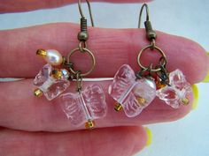 Pink Glass Butterfly Bead Dangle Earrings Doodaba by doodaba Pink Earrings, Dangle Earrings, Glass Butterfly, Dangles, Beads, Trending Outfits, Unique Jewelry, Handmade Gifts, Etsy