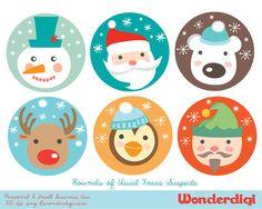 Christmas Clip Art Round Labels Xmas Clip art Santa Snowman Elf Polar Bear Reindeer Penguin  Illustration