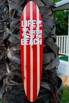 Surfboard Wall Art - Red/Vintage/Beach/Surf/tropical/white/ life is better 162-5