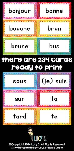 Browse over 10 educational resources created by ESL Teach Well in the official Teachers Pay Teachers store. French Teaching Resources, Teaching French, French Words, French Quotes, French Classroom Decor, Classroom Ideas, Word Wall Headers, Rainbow Words, Core French
