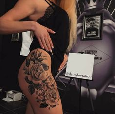So Hot and Gorgeous Rose Tattoos on Thigh #ThighTattooIdeas #RoseTattooIdeas