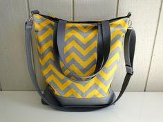 New  Tote Bag  Yellow and Grey Chevron Slub  by wildsproutdesign, $42.00