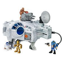Playskool Heroes Star Wars Jedi Force Millennium Falcon Playset - The figures are the same size as Fisher Price Imaginext toys - batman/spiderman can share adventures in space!