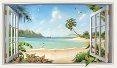 tropical beach paintings - Google Search