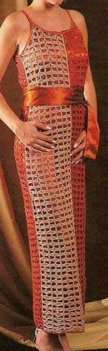 Häkelmuster-Fundgrube: langes Kleid mit Spaghetti-Trägern