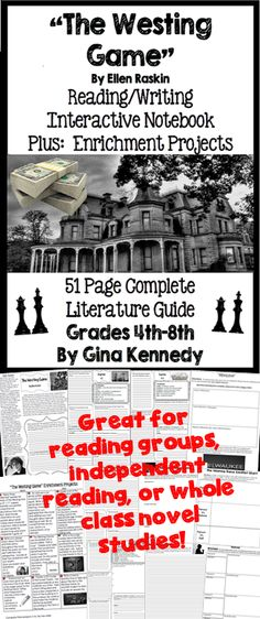 """No-Prep novel study for """"The Westing Game"""", a standards based interactive notebook literature guide with follow-up reading response questions for every chapter as well as vocabulary, writing projects, activities and enrichment projects. Teacher friendly engaging lessons to use with this award winning novel by Ellen Raskin in your classroom while encouraging critical reading skills.$"""
