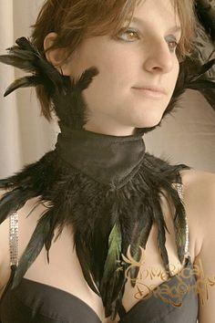 EBONY FEATHER CHOKER -unisex- Burlesque Fantasy Pagan Black Larp Vampire wikka Goth corset Halloween Queen Crow. $45.00, via Etsy.
