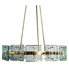 Glass and brass chandelier by Fontana Arte | From a unique collection of antique and modern chandeliers and pendants  at http://www.1stdibs.com/furniture/lighting/chandeliers-pendant-lights/