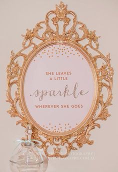 """Pink, Gold and Glitter """"She Leaves a Little Sparkle"""" Nursery Artwork - 8x10 INSTANT DOWNLOAD on Etsy, $8.00"""