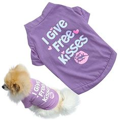 Voberry Fashion Pet I Give Free Kisses Dog TShirt Dog Cat Funny Summer Vest Shirt M Purple *** Click image to review more details.