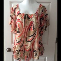 Jennifer Lloyd Red and Tan Shirt Size L Jennifer Lloyd red and tan blouse. Size L. Square neck line. Complete lined in the middle. Layered ruffle at the bottom. Sleeves are sheer. 100% polyester. Jennifer Lloyd Tops Blouses