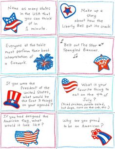 of July Conversation Starter and Joke Cards - FREE Printables! - Happy Home Fairy Patriotic Convo Starters - fun quiz cards for July party or dinner conversation/game 4th Of July Games, 4th Of July Party, Fourth Of July, 4th Of July Trivia, Conversation Cards, Conversation Starters, 4. Juli Party, Happy Home Fairy, Independance Day