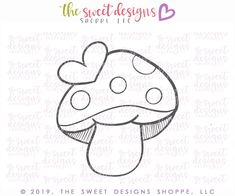 Valentines Mushroom - Cutter – The Sweet Designs Shoppe Drawing For Kids, Painting For Kids, Cookie Cutters, Cookie Dough, Note Doodles, Simple Cartoon, Fathers Day Crafts, Felt Patterns, Cookie Designs
