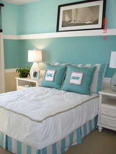"""Tiffany blue beach house bedroom with """"sail away"""" pillows..."""