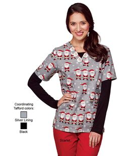 Share Tafford with your friends and receive a promo code for $5 OFF your order! (on qualifying brands) Tafford Spinning Santa 2 Pocket Scrub Top