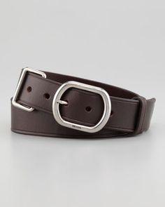 Prada Metal Keeper Leather Belt - Neiman Marcus
