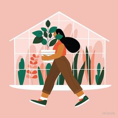 Fashion Illustration Design Beautiful girl with plant in pot Poster - Minimalistic styled picture is perfect for making your room cozy. Simple Illustration, Plant Illustration, Graphic Illustration, Art Inspiration Drawing, Jolie Photo, Illustrations And Posters, Illustrations Vintage, Fashion Illustrations, Collages